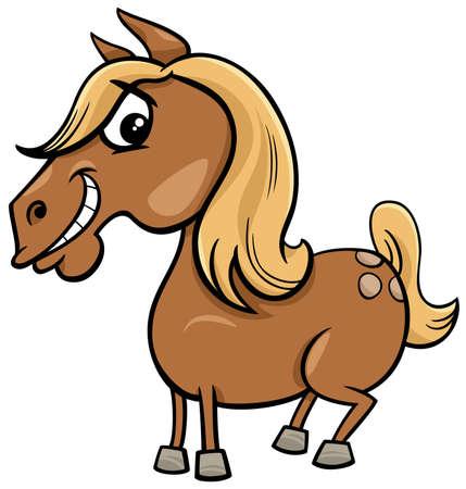 Cartoon Illustration of Funny Horse or Pony Farm Animal Character Ilustração