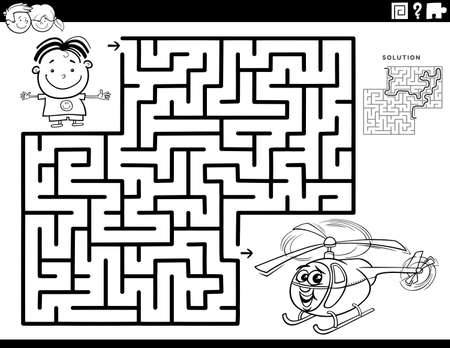 Black and White Cartoon Illustration of Educational Maze Puzzle Game for Children with Boy Character and Toy Helicopter Coloring Book Page