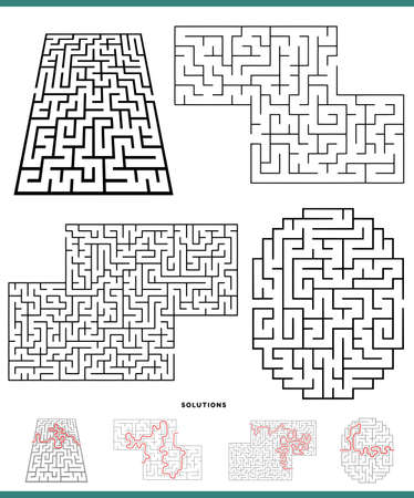 Illustration of Black and White Mazes Game Activities Set with Solutions 矢量图像
