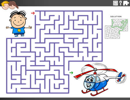 Cartoon Illustration of Educational Maze Puzzle Game for Children with Boy Character and Toy Helicopter