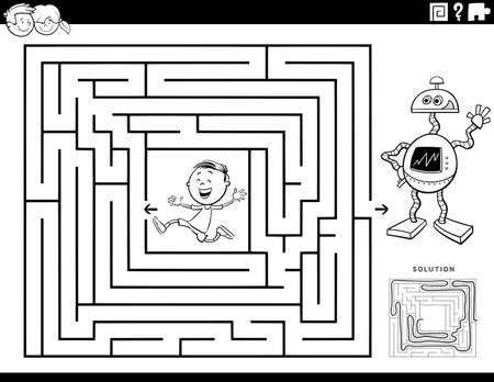 Black and White Cartoon Illustration of Educational Maze Puzzle Game for Children with Boy Character and Toy Robot Coloring Book Page 矢量图像