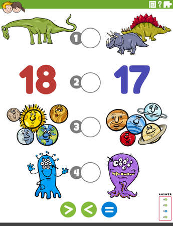 Cartoon Illustration of Educational Mathematical Puzzle Game of Greater Than, Less Than or Equal to for Children with Comic Characters Worksheet Page Illustration
