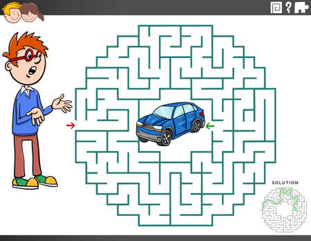 Cartoon Illustration of Educational Maze Puzzle Game for Children with Boy Character and Toy Car