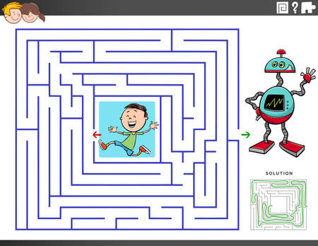 Cartoon Illustration of Educational Maze Puzzle Game for Children with Boy Character and Toy Robot
