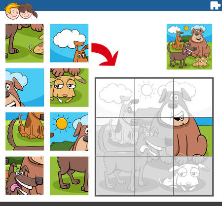Cartoon Illustration of Educational Jigsaw Puzzle Game for Children with Dogs and Puppies Animal Characters Group Vecteurs