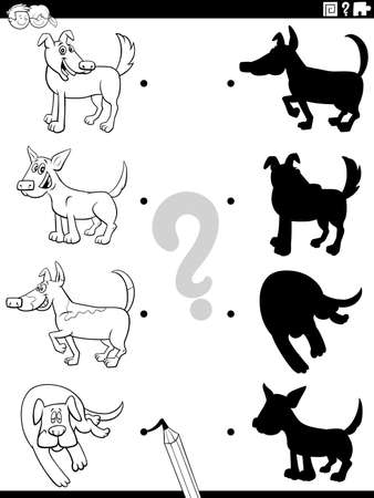 Black and White Cartoon Illustration of Match the Right Shadows with Pictures Educational Task for Children with Dogs and Puppies Characters Coloring Book Page