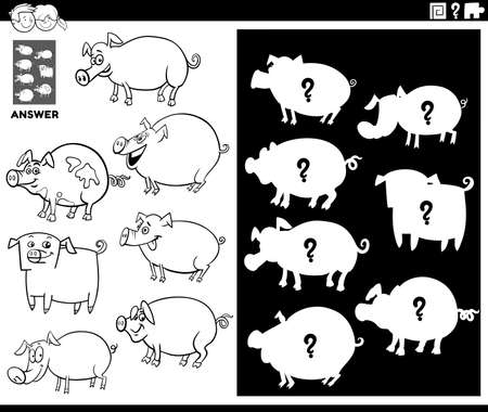 Black and White Cartoon Illustration of Match Objects and the Right Shape or Silhouette with Pigs Farm Animal Characters Educational Game for Children Coloring Book Page