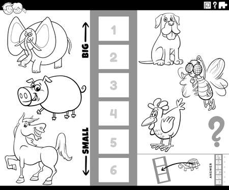 Black and White Cartoon Illustration of Educational Task of Finding the Bigest and the Smallest Animal Species with Comic Characters for Children Coloring Book Page