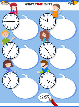 Cartoon Illustrations of Telling Time Educational Task with Clock Faces and Children Characters Illusztráció