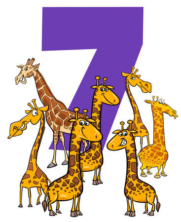 Cartoon Illustration of Number Seven with Funny Giraffes Animal Characters Group