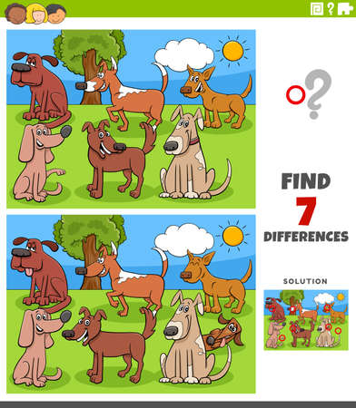 Cartoon Illustration of Finding Differences Between Pictures Educational Game for Children with Comic Dogs Group