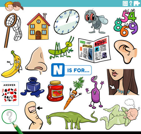 Cartoon Illustration of Finding Picture Starting with Letter N Educational Task Worksheet for Children with Objects and Comic Characters Vektorgrafik