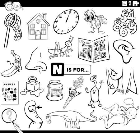 Black and White Cartoon Illustration of Finding Picture Starting with Letter N Educational Task Worksheet for Children with Objects and Comic Characters Coloring Book Page