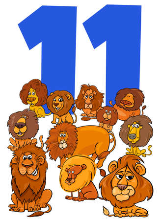 Cartoon Illustration of Number Eleven for Children with Funny Lions Animal Characters Group