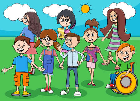 Cartoon Illustration of Children and Teenagers Comic Characters Group