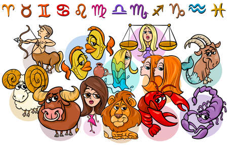Cartoon Illustration of All Horoscope Zodiac Signs Collection