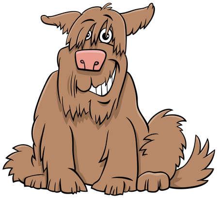 Cartoon Illustration of Funny Shaggy Sitting Dog Comic Animal Character