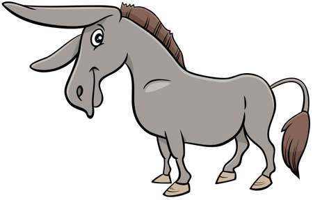 Cartoon Illustration of Funny Donkey Farm Animal Character