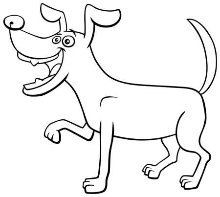 Black And White Cartoon Illustration Of Funny Playful Dog Comic.. Royalty  Free Cliparts, Vectors, And Stock Illustration. Image 154981030.