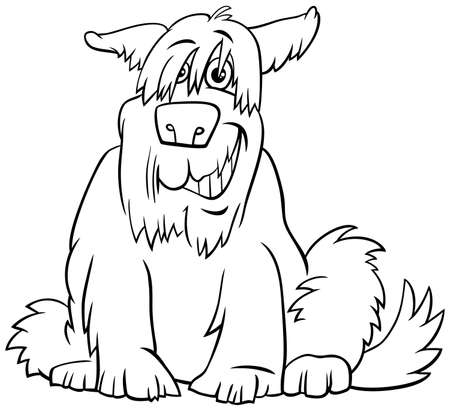 Black and White Cartoon Illustration of Funny Shaggy Sitting Dog Comic Animal Character Coloring Book Page  イラスト・ベクター素材