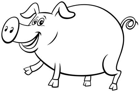 Black and White Cartoon Illustration of Happy Pig Comic Farm Animal Character Coloring Book Page