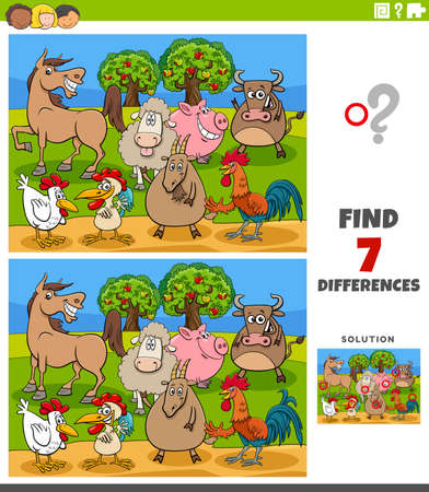 Cartoon Illustration of Finding Differences Between Pictures Educational Game for Children with Comic Farm Animals Characters Vektorgrafik
