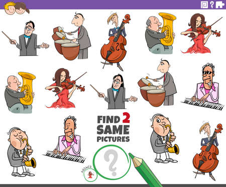 Cartoon Illustration of Finding Two Same Pictures Educational Task for Children with Musicians Characters Vecteurs