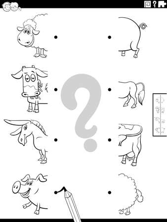 Black and White Cartoon Illustration of Educational Task of Matching Halves of Pictures with Funny Farm Animal Characters Coloring Book Page