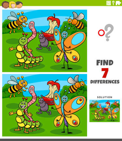 Cartoon Illustration of Finding Differences Between Pictures Educational Game for Children with Comic Insect Characters Illustration