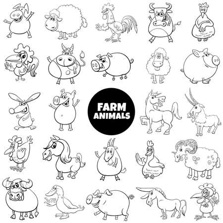 Black and White Cartoon Illustration of Comic Farm Animal Characters Big Set