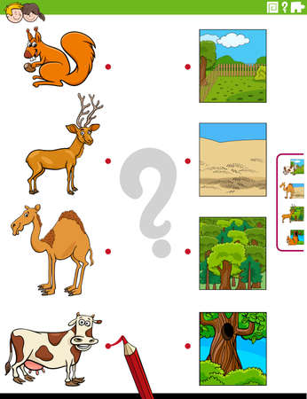 Cartoon Illustration of Educational Matching Game for Children with Animal Species Characters and their Environments