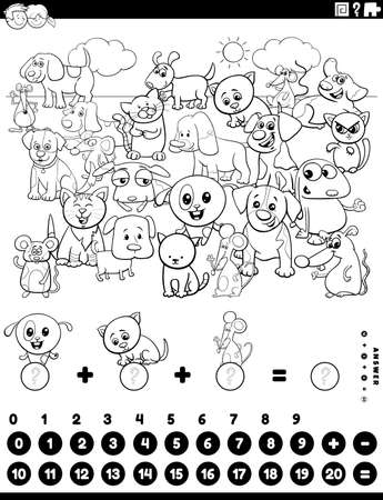 Black and White Cartoon Illustration of Educational Mathematical Counting and Addition Game for Children with Dogs Cats and Mice Coloring Book Page