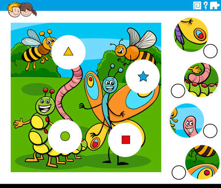 Cartoon Illustration of Educational Match the Pieces Jigsaw Puzzle Game for Children with Insects Animal Characters Group Illustration