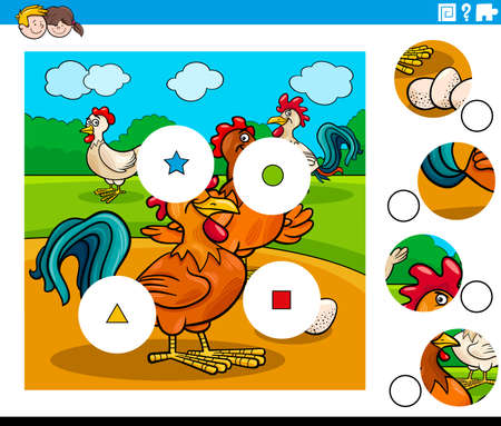 Cartoon Illustration of Educational Match the Pieces Jigsaw Puzzle Game for Children with Chickens Animal Characters Group
