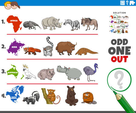 Cartoon Illustration of Odd One Oute Picture in a Row Educational Game for Elementary Age or Preschool Children with Animals from different Continents