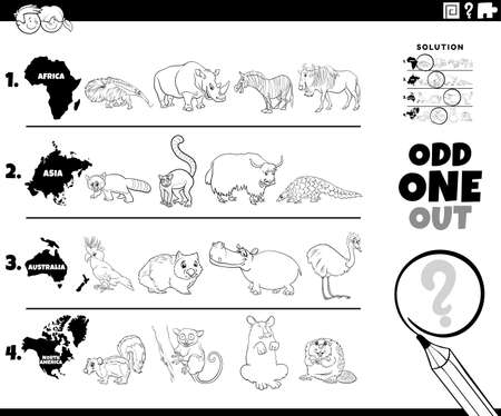 Black and White Cartoon Illustration of Odd One Oute Picture in a Row Educational Game for Elementary Age or Preschool Children with Animals from different Continents Coloring Book Page 矢量图像