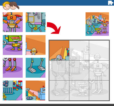 Cartoon Illustration of Educational Jigsaw Puzzle Game for Children with Funny Robots Characters Group Illusztráció