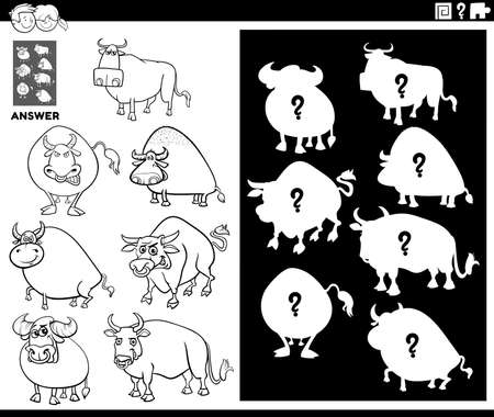 Black and White Cartoon Illustration of Match Objects and the Right Shape or Silhouette with Bulls Farm Animal Characters Educational Game for Children Coloring Book Page 일러스트