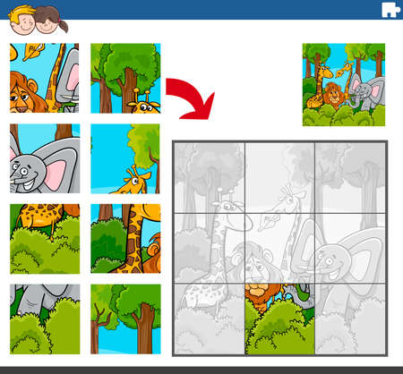 Cartoon Illustration of Educational Jigsaw Puzzle Game for Children with Funny Wild Animal Characters Group
