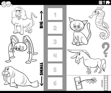 Black and White Cartoon Illustration of Educational Task of Finding the Biggest and the Smallest Animal Species with Funny Characters for Children Coloring Book Page