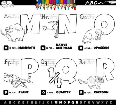 Black and White Cartoon Illustration of Capital Letters Alphabet Educational Set for Reading and Writing Practise for Elementary Age Children from M to R Coloring Book Page Ilustração