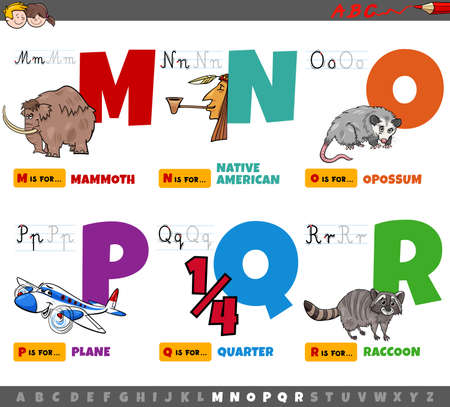 Cartoon Illustration of Capital Letters Alphabet Educational Set for Reading and Writing Practise for Elementary Age Children from M to R Ilustração
