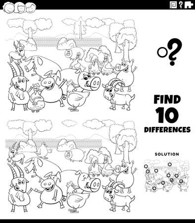 Black and White Cartoon Illustration of Finding Differences Between Pictures Educational Game for Children with Farm Animals Characters Coloring Book Page 向量圖像