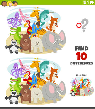 Cartoon Illustration of Finding Differences Between Pictures Educational Game for Children with Comic Wild Animals Characters