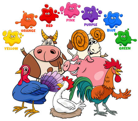 Educational Cartoon Illustration of Basic Colors for Children with Farm Animal Characters Group 向量圖像