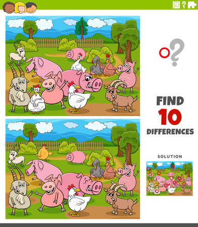 Cartoon Illustration of Finding Differences Between Pictures Educational Game for Children with Farm Animals Characters 向量圖像