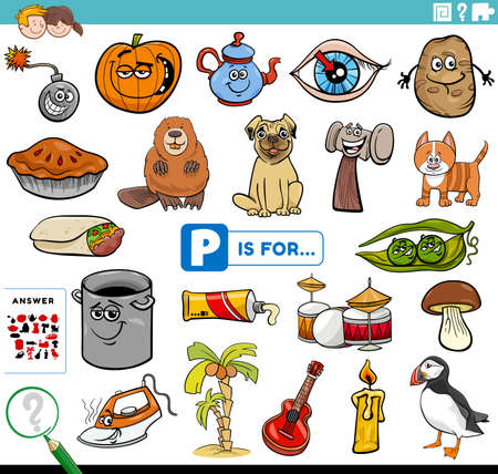 Cartoon Illustration of Finding Picture Starting with Letter P Educational Task Worksheet for Children with Objects and Comic Characters 일러스트