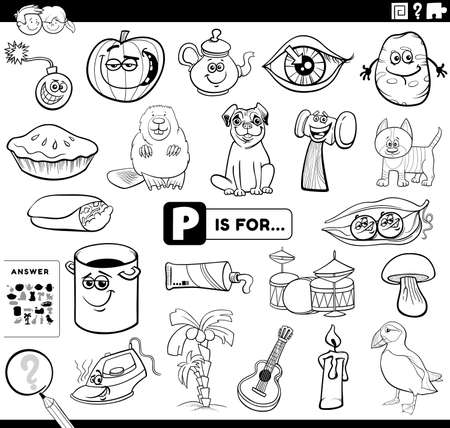 Black and White Cartoon Illustration of Finding Picture Starting with Letter P Educational Task Worksheet for Children with Objects and Comic Characters Coloring Book Page