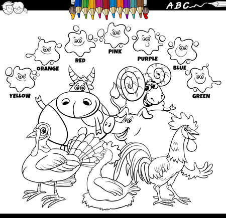 Black and White Educational Cartoon Illustration of Basic Colors for Children with Farm Animal Characters Group Coloring Book Page