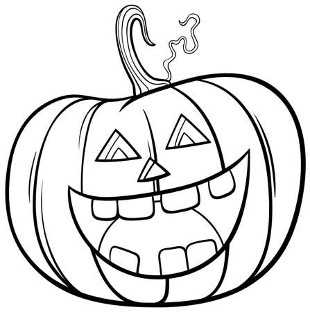 Black and White Cartoon Illustration of Halloween Jack-O'-Lantern Pumpkin Character Coloring Book Page